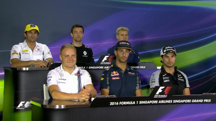 The drivers face the press in Singapore 2016