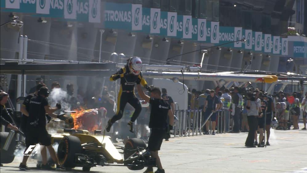 FP1: Renault fire brings session to a halt