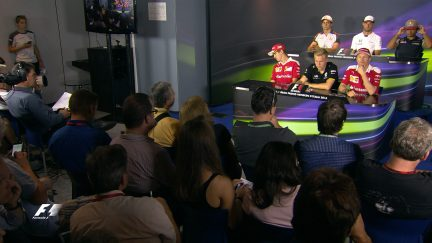 The drivers face the press in Italy 2016