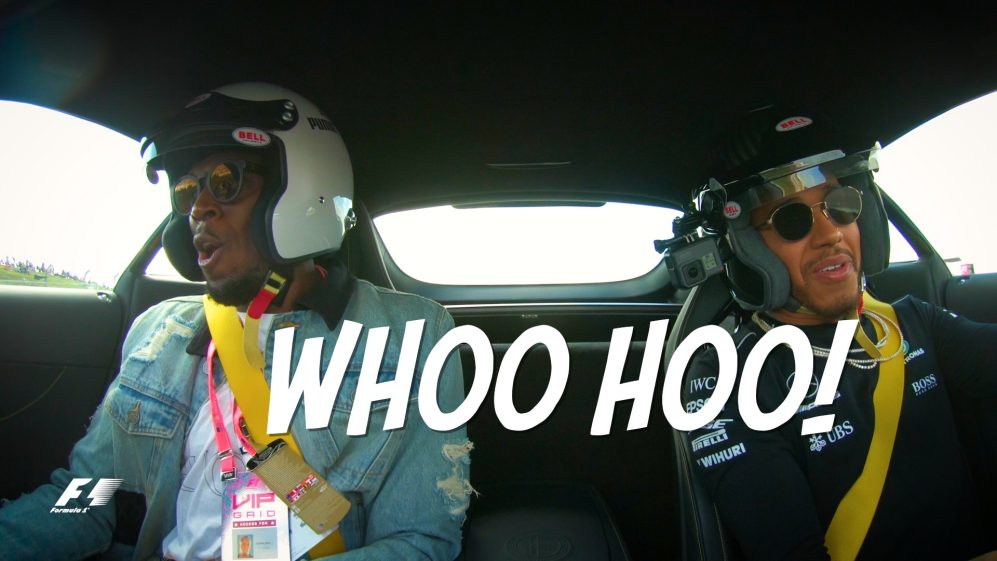 Lewis Hamilton shows Usain Bolt a new meaning of speed in Austin
