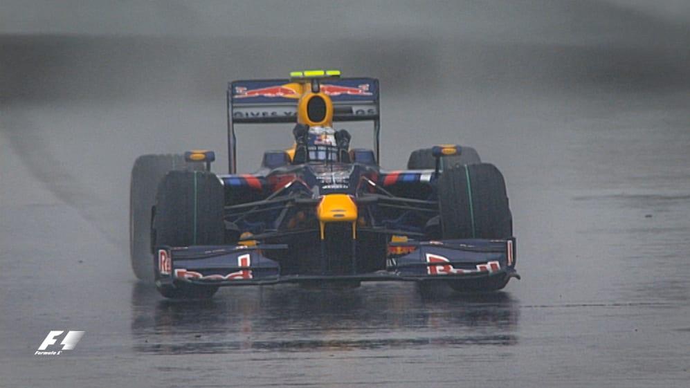 F1 Vault: Vettel walks on water for first Red Bull win