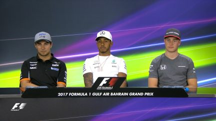 Drivers face the press in Bahrain