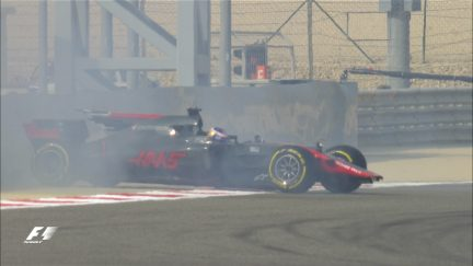 FP3: Grosjean escapes brush with Bahrain barriers