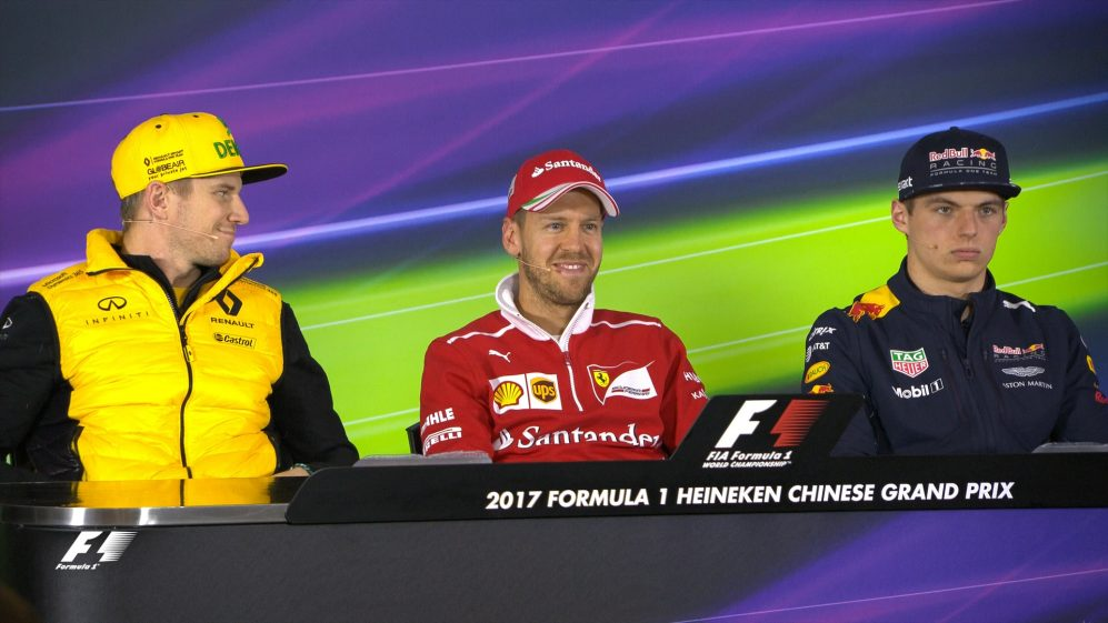 Drivers face the press in China