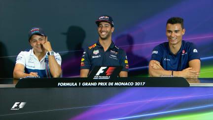 Drivers face the press in Monaco
