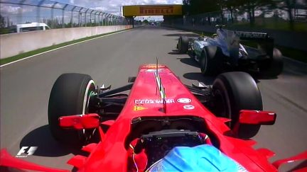 Classic onboard: Hamilton and Alonso play cat and mouse