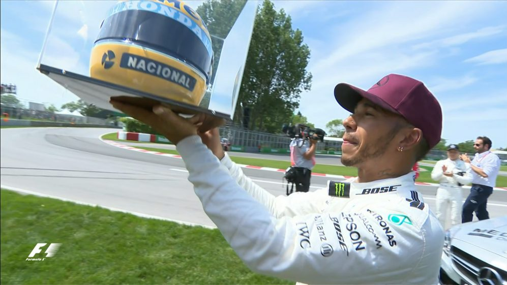 Hamilton gifted helmet after matching Senna's pole record