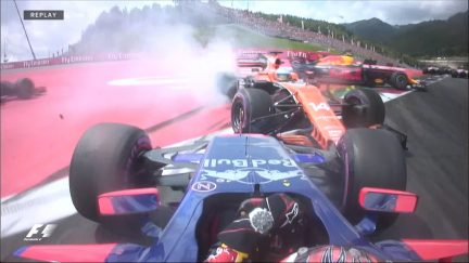 Race: Kvyat, Alonso and Verstappen come together at Turn 1