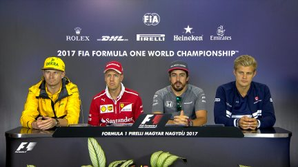 Drivers face the press in Hungary