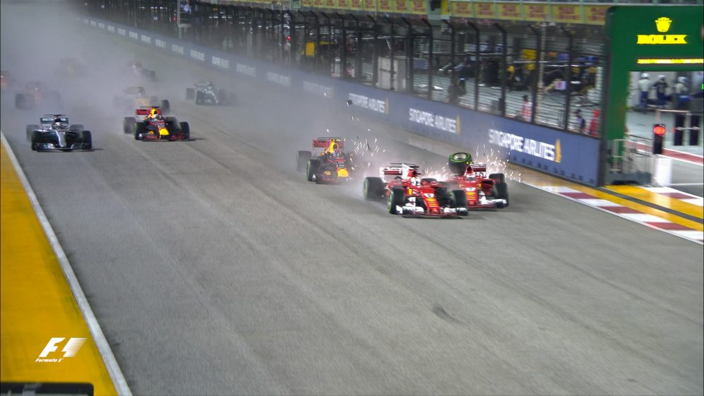 Race: Vettel, Verstappen & Raikkonen out after chaotic wet start