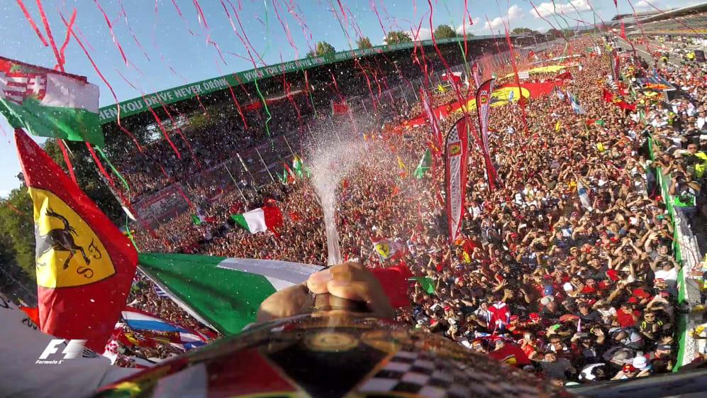 Champagne moment: Hamilton's unique view from the Monza podium