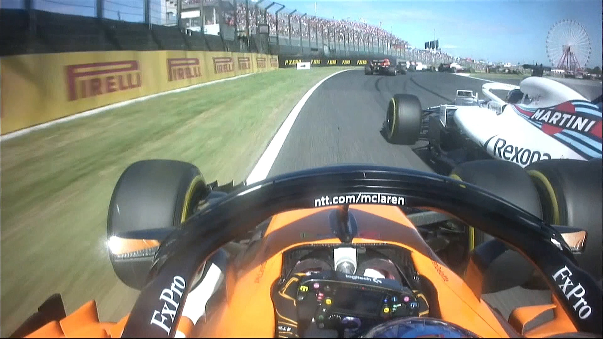 RACE: Battle at the chicane sees both Alonso and Stroll penalised