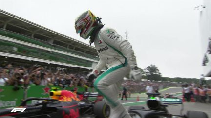 MUST SEE: Barriers collapse as Mercedes title celebrations begin