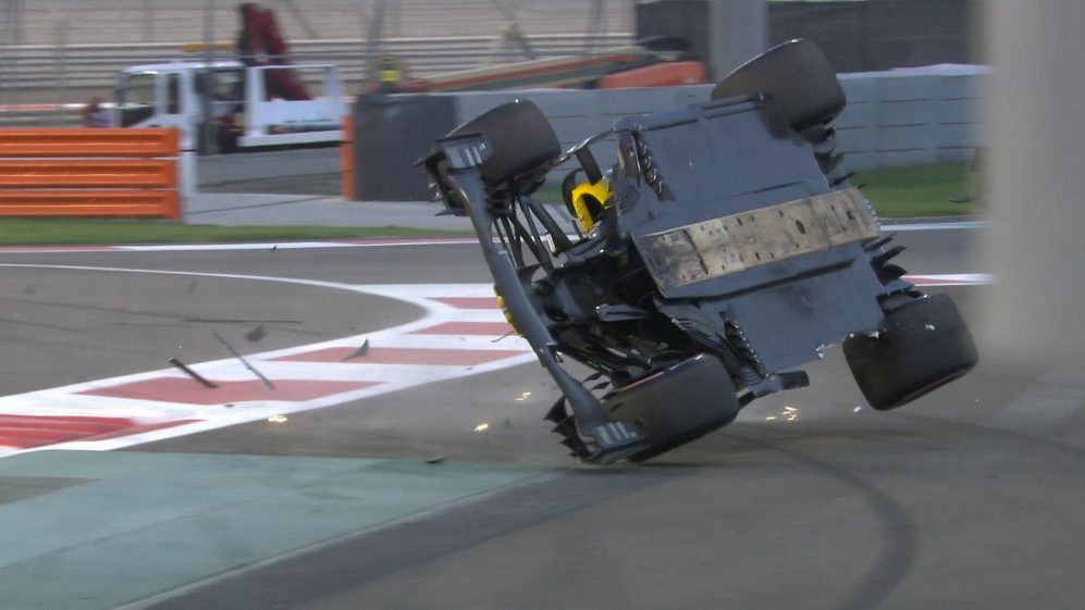 RACE: Hulkenberg barrel rolls into barriers after contact with Grosjean
