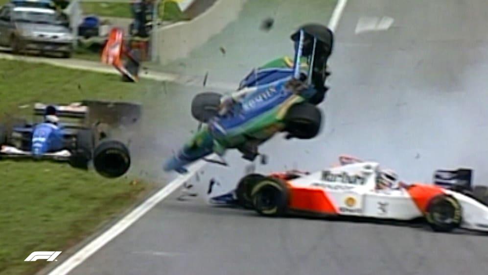 F1 VAULT: Brundle escapes four-way smash in Brazil '94