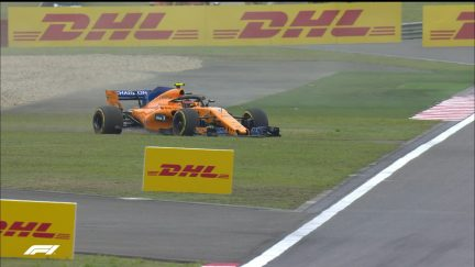 FP1: Vandoorne just keeps it out of the wall in China