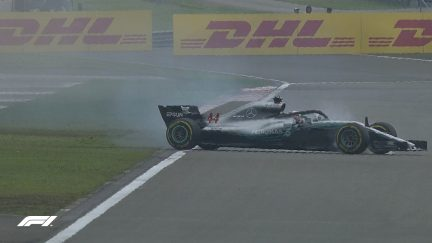 FP3: Standing water puts Hamilton in a spin
