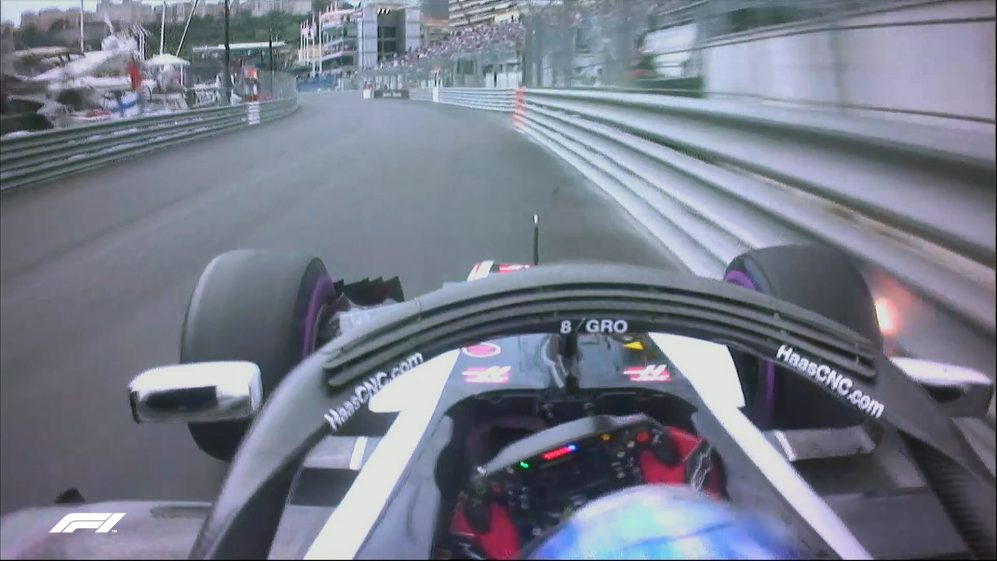 FP1: Sparks fly as Grosjean kisses the wall