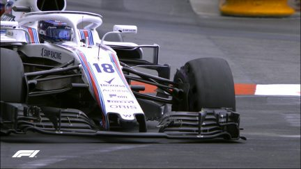 RACE: Stroll forced to pit with punctured tyre