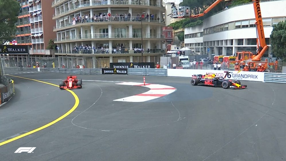 FP1: Verstappen rejoins in reverse after escape road off