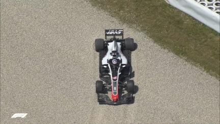 FP2: Grosjean stuck in gravel just 5 minutes in