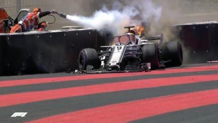FP1: Fiery crash ends Ericsson's session