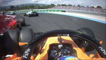 RACE: Alonso spins during battle with Vettel