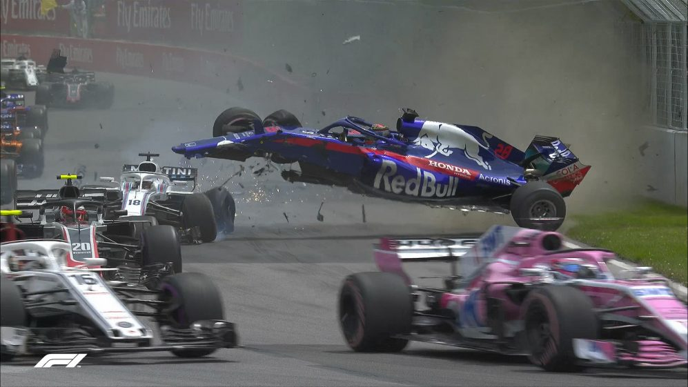 RACE: Stroll and Hartley out in spectacular Lap 1 crash