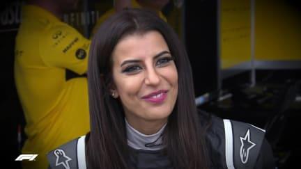 A UNIQUE MOMENT: Saudi Arabia's Aseel Al-Hamad's drives an F1 car