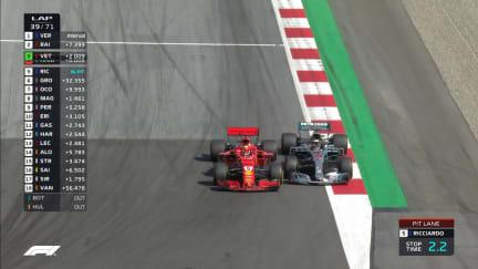 RACE: Vettel squeezes past Hamilton at Turn 3