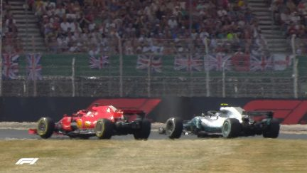 RACE: Vettel puts a brilliant pass on Bottas for the lead