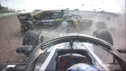 RACE: Sainz and Grosjean clash at Copse