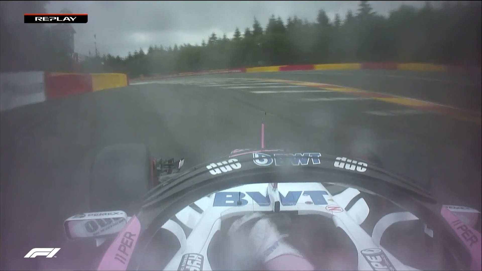 QUALIFYING: Slick-shod Perez just avoids barriers at Eau Rouge
