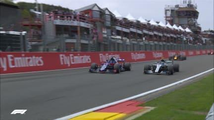 RACE: Bottas completes amazing Eau Rouge pass on Hartley