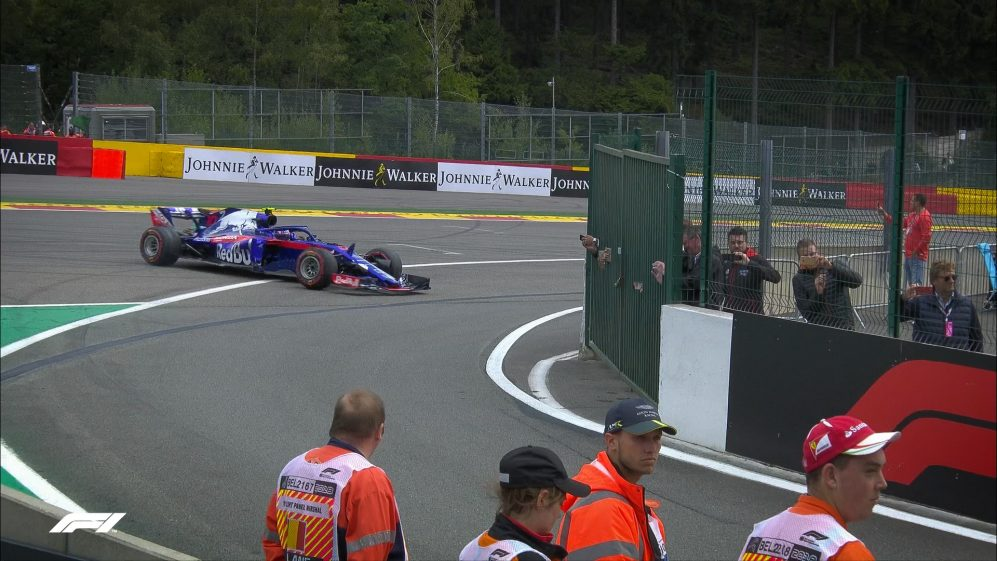 FP3: Cold tyres cause Gasly to spin coming out of the pits