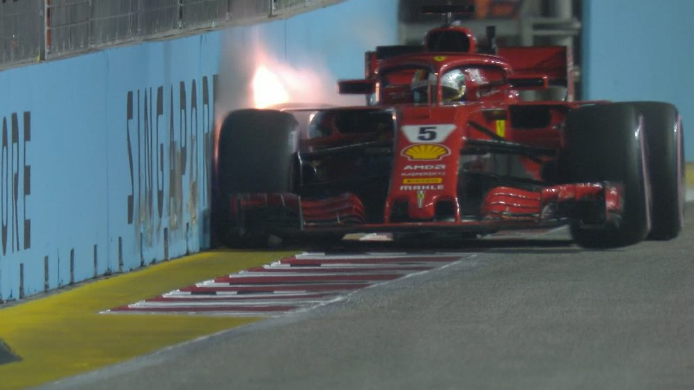 FP2: Vettel pits after hitting the wall hard