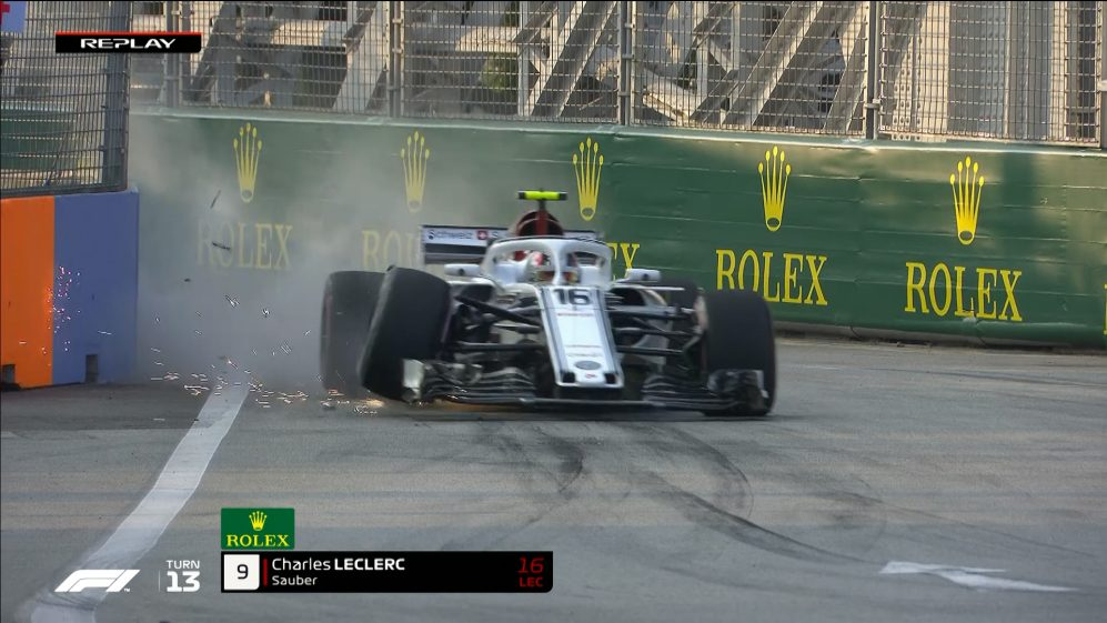 FP1: Leclerc rips a front wheel off his Sauber