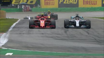 RACE: Raikkonen and Hamilton trade lead twice on restart