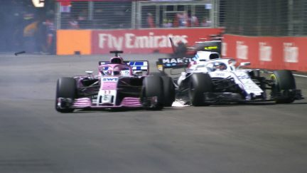 RACE: Frustrated Perez collides with Sirotkin