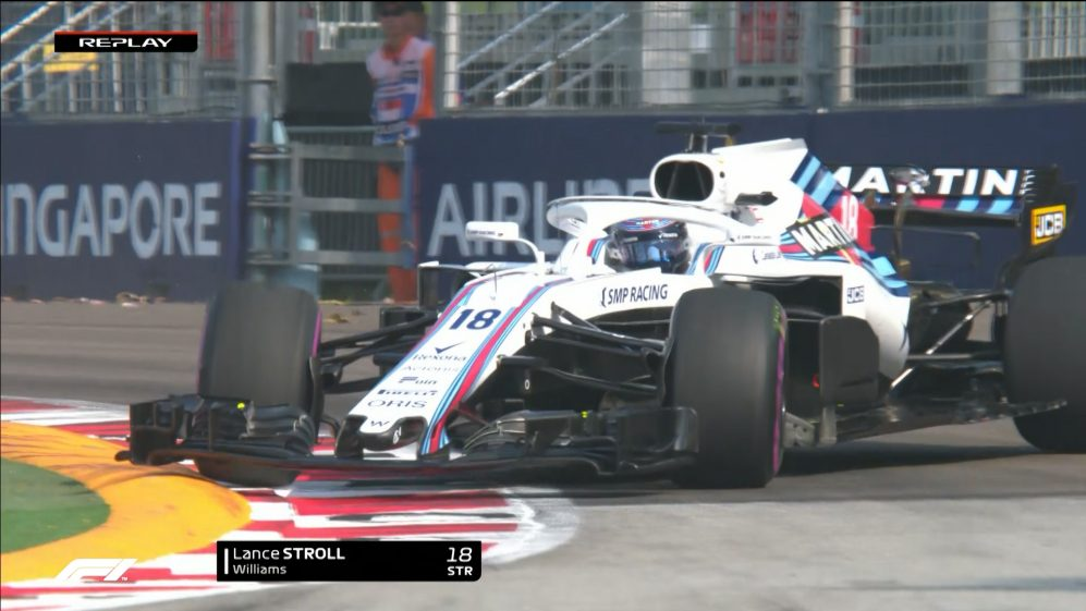 FP1: Stroll ends up pointing backwards at Turn 2
