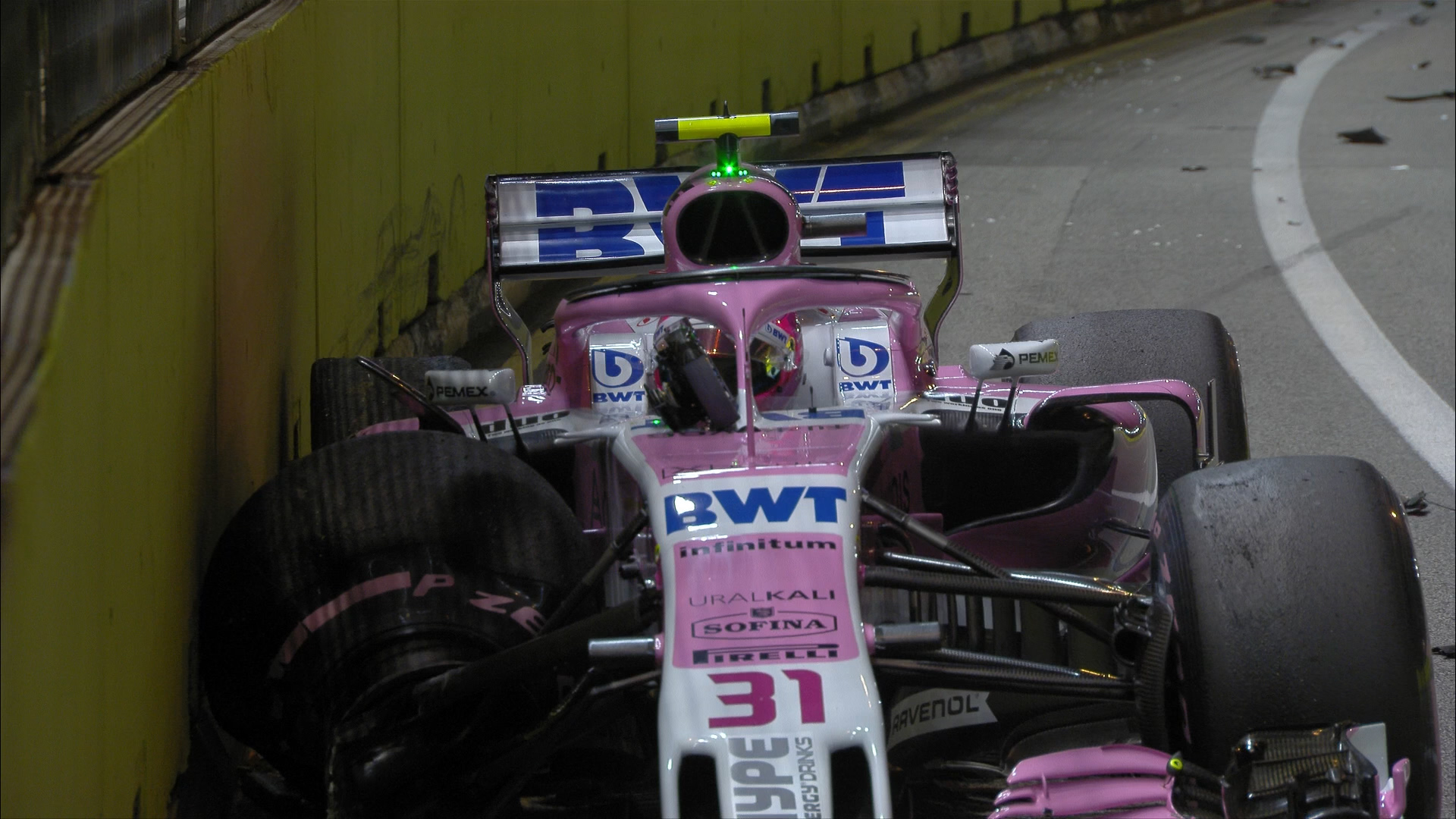 RACE: Ocon crashes out as Force Indias clash on Lap 1