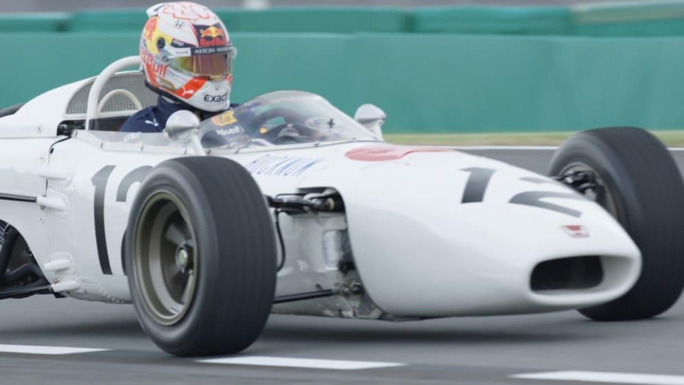 Max Verstappen drives a vintage Honda F1 car in Japan
