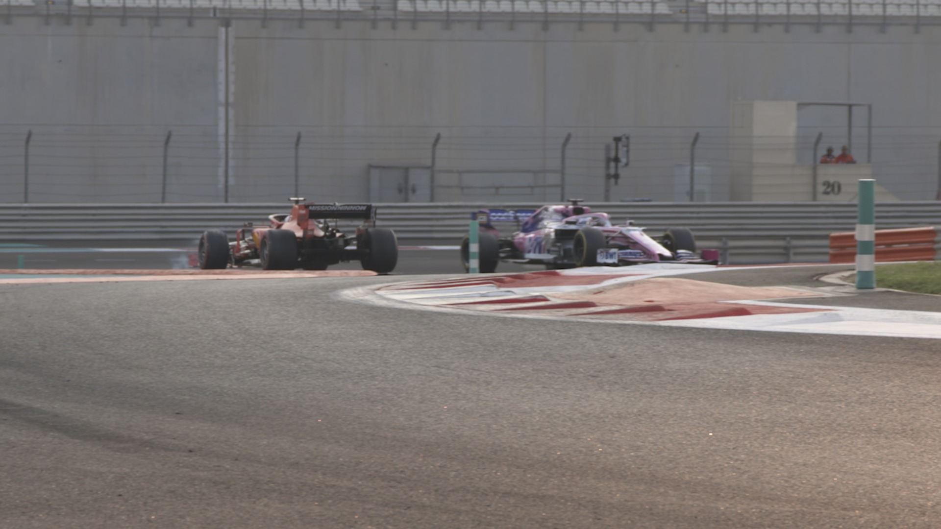 Perez taps Vettel into a spin at Abu Dhabi test