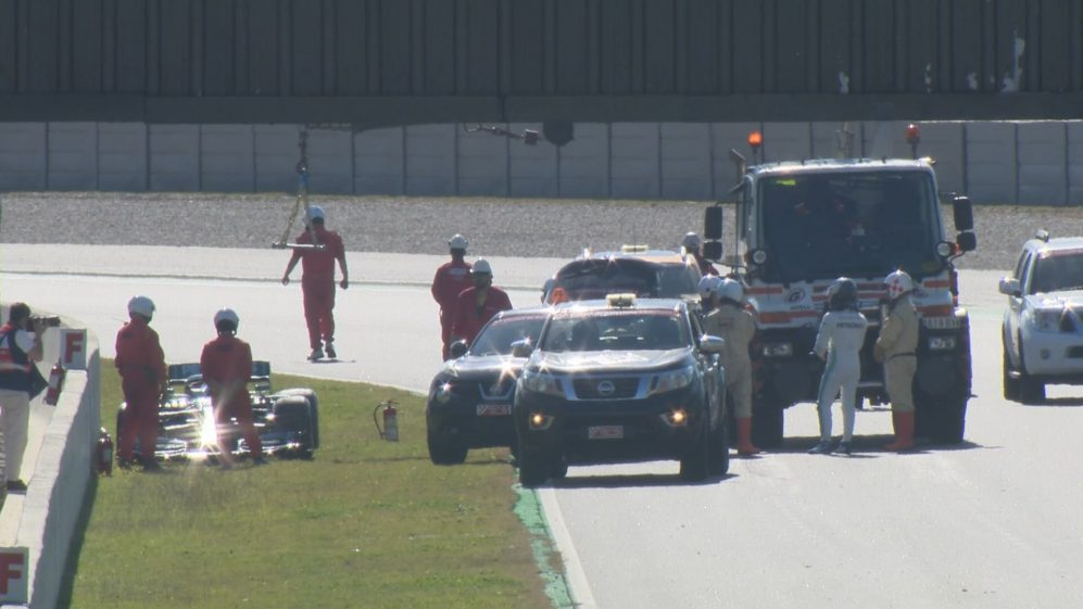 Pre-season testing 2019: Bottas parks his Mercedes off track