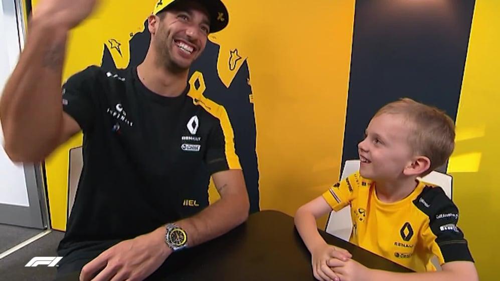 Daniel Ricciardo or Daniel Avocado? Renault star meets young fan