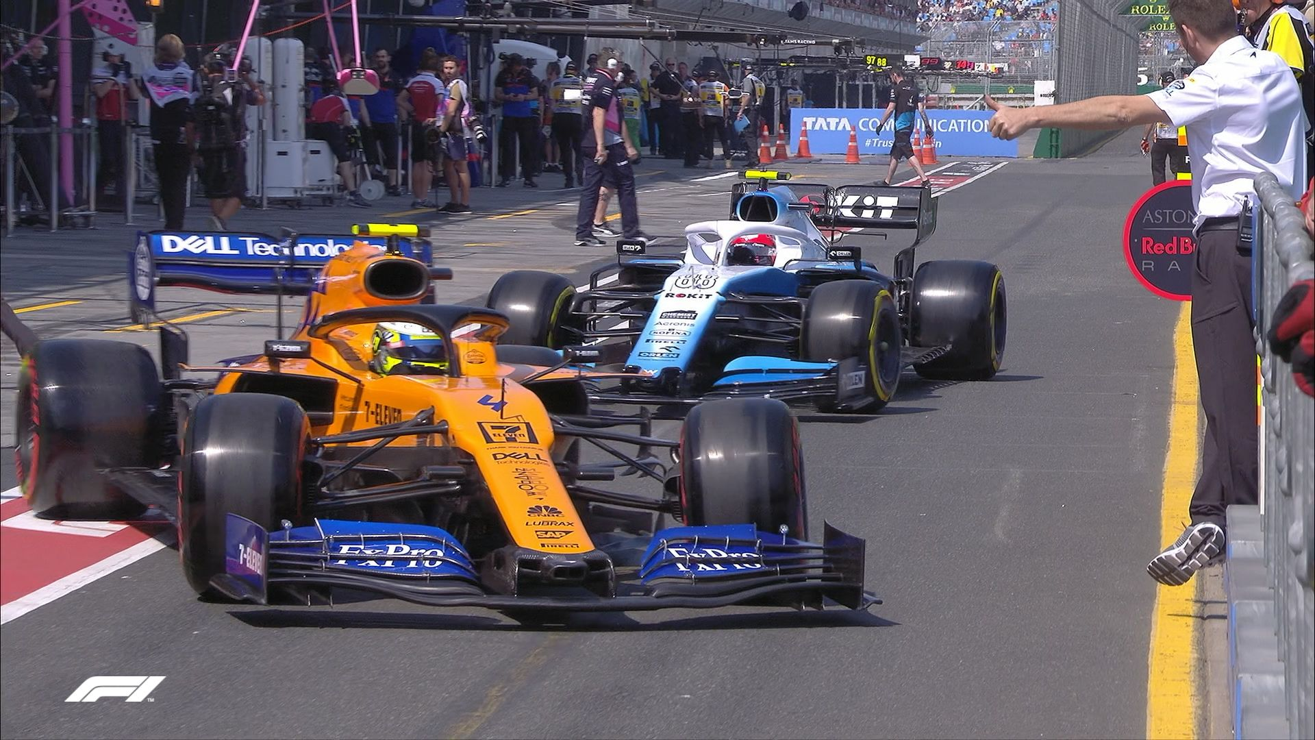 FP3: Close pit-lane call for Norris and Kubica