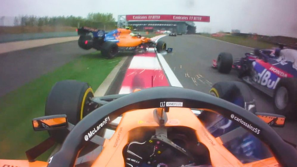 ONBOARD: See Norris and Sainz's view of their lap 1 clash with Kvyat