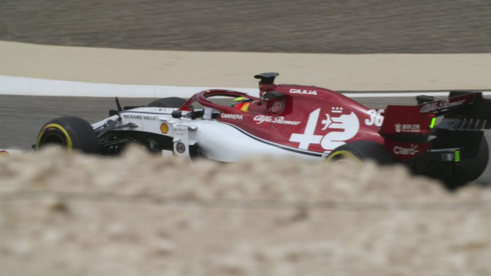 Mick Schumacher tests the Alfa Romeo F1 car in Bahrain