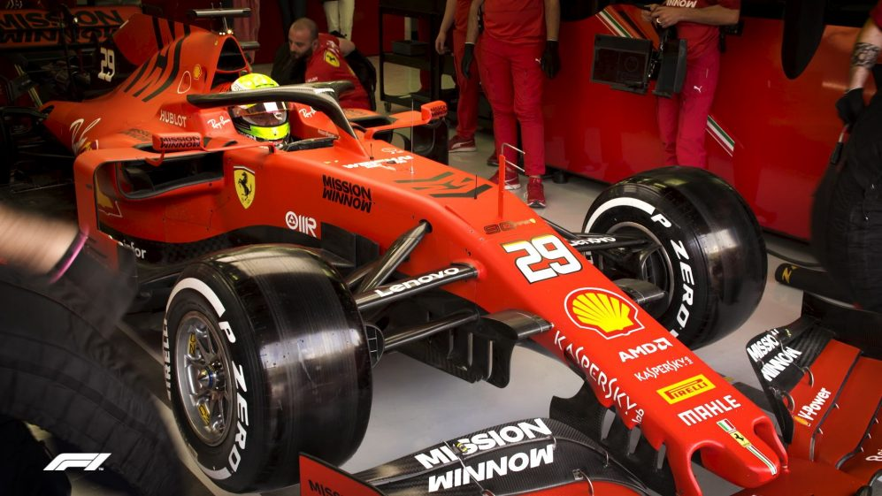 Mick Schumacher's tests Ferrari F1 car in Bahrain