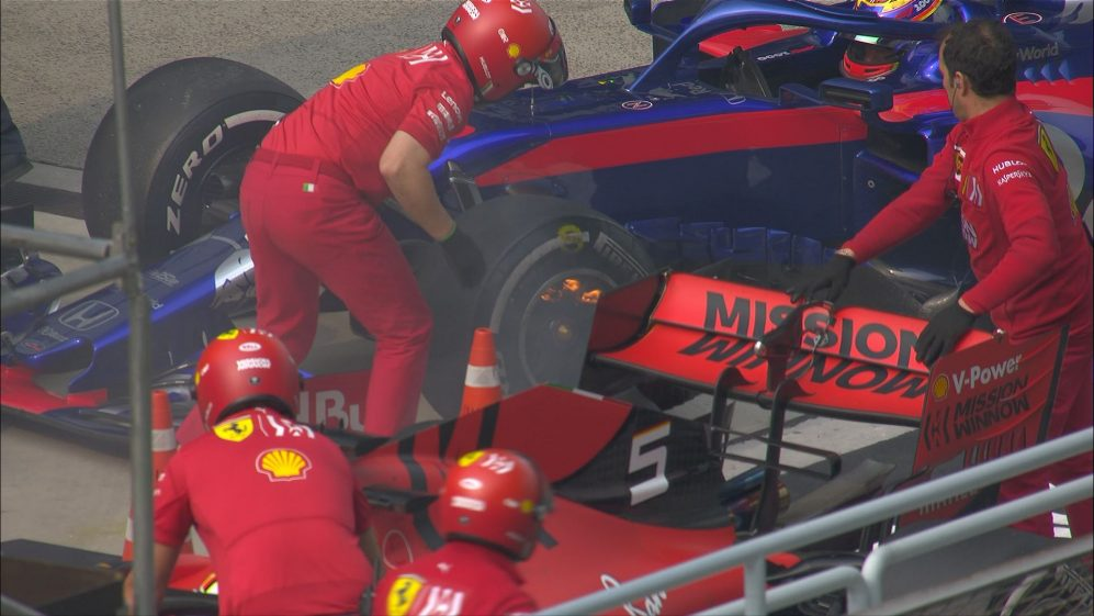 FP2: Ferrari mechanics rush to extinguish Albon brake fire